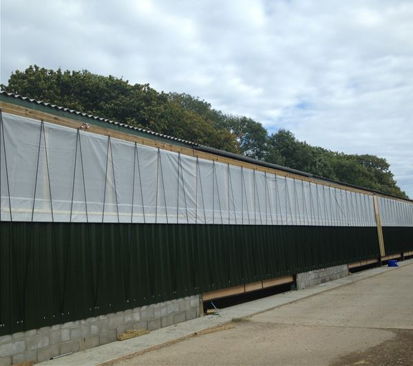 Livestock curtains for a range of applications on pig sheds, chicken sheds, cattle sheds, sheep sheds, turkey sheds, duck sheds and more.